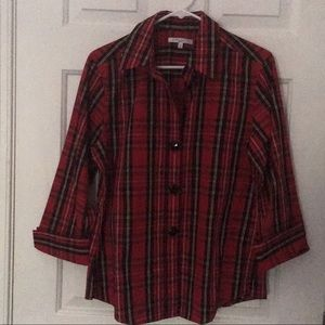 Foxcroft Christmas Holiday Plaid blouse size 10